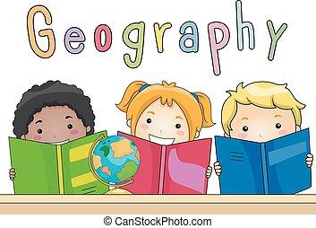 dzieciaki, książki, geografia