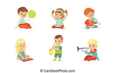dzieciaki, mały, ilustracje, wektor, interpretacja, muzyczne instrumenty, komplet