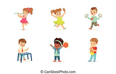 dzieciaki, mały, ilustracje, wektor, interpretacja, muzyczny, uśmiechanie się, instrumentować, komplet