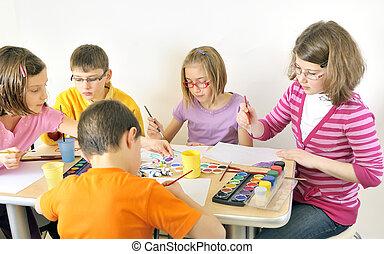 dzieciaki, malarstwo