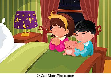 dzieciaki, modlący się, przed, jechawszy do łóżka