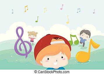 dzieciaki, muzyka notatnik, gra, ilustracja