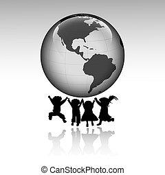 dzieciaki, od, świat