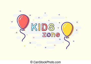 dzieciaki, pas, mbe, iskrzasty, znak, tło., wektor, projektować, słówko, balony, style.