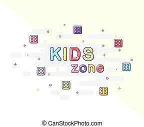 dzieciaki, pas, mbe, iskrzasty, znak, tło., wektor, projektować, tekst, style.