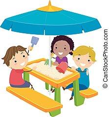 dzieciaki, piknik, stickman, ilustracja, piasek, stół