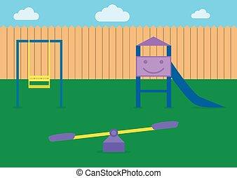 dzieciaki, plac gier i zabaw, ilustracja