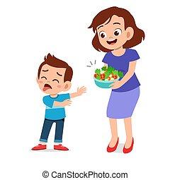 dzieciaki, potrzeba, sprytny, jeść, nie, sałata