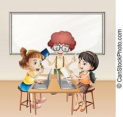dzieciaki, pracujący na komputerze, w, klasa