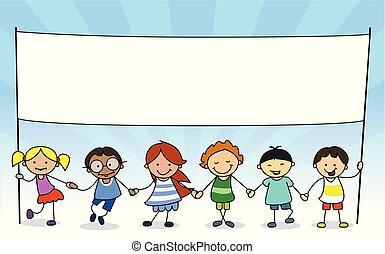 dzieciaki, przestrzeń, -, ilustracja, dzierżawa, biały, kopia, chorągiew