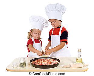 dzieciaki, przygotowując, pizza