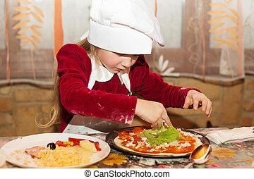 dzieciaki, przygotowując, swojski, pizza