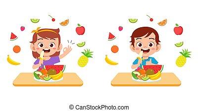 dzieciaki, roślina, owoce, sprytny, jeść, szczęśliwy, sałata