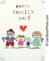 dzieciaki, rodzina, dad., picture., mamusia, dzień, szczęśliwy