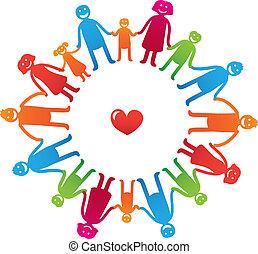 dzieciaki, rodzina, ikony, -, wektor, rodzice, szczęśliwy