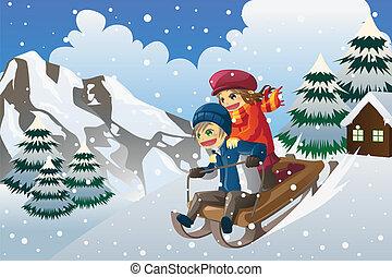 dzieciaki, sledding, w, przedimek określony przed rzeczownikami, śnieg