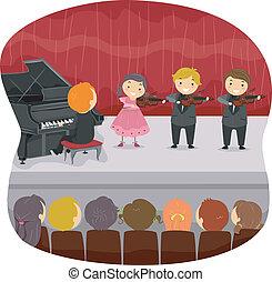 dzieciaki, spełnianie, niejaki, muzyczny, recital