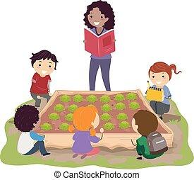 dzieciaki, stickman, łata, książka, kapusta, nauczyciel