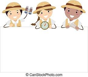 dzieciaki, stickman, badacz, ilustracja, deska