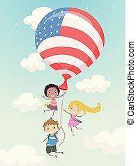 dzieciaki, stickman, balloon, ilustracja, bandera, ruchomy