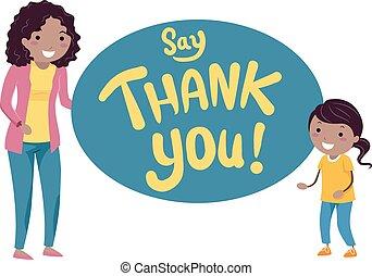 dzieciaki, stickman, dziękować, ilustracja, powiedzieć, mamusia, ty