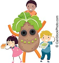 dzieciaki, stickman, farmerki robią zakupy, kartofel