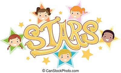 dzieciaki, stickman, gwiazdy, ilustracja