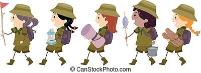dzieciaki, stickman, ilustracja, chód, wywiadowcy, dziewczyna