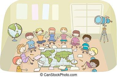 dzieciaki, stickman, ilustracja, działalność, klasa, geografia