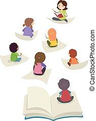 dzieciaki, stickman, ilustracja, klasa, książka, nauczyciel, strona