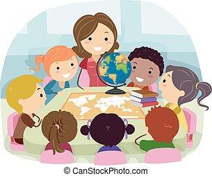dzieciaki, stickman, ilustracja, klasa nauczyciel, geografia