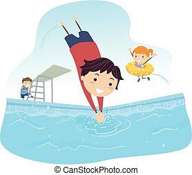 dzieciaki, stickman, ilustracja, nurkować