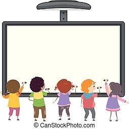 dzieciaki, stickman, ilustracja, pisać, deska, interaktywny