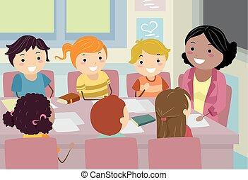 dzieciaki, stickman, ilustracja, rada, spotkanie, nauczyciel