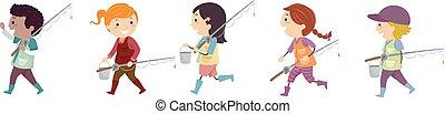dzieciaki, stickman, jezioro, ilustracja, wędkarski, przyjaciele