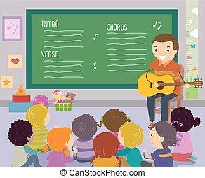 dzieciaki, stickman, nauczyciel, ilustracja, śpiew