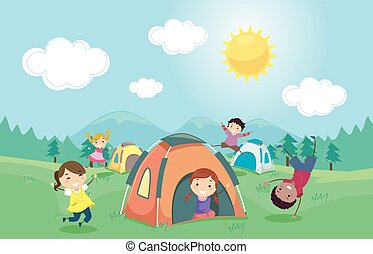 dzieciaki, stickman, obozowanie, ilustracja, namiot