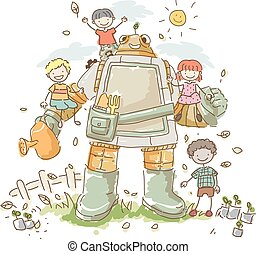 dzieciaki, stickman, ogród, ilustracja, robot