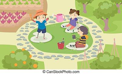 dzieciaki, stickman, ogród, przestrzeń