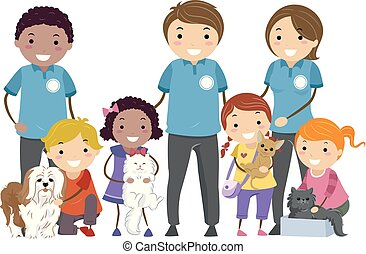 dzieciaki, stickman, pieszczochy, schronienie, ilustracja, zwierzę