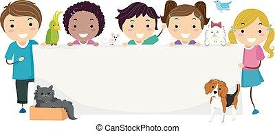 dzieciaki, stickman, prawa, ilustracja, zwierzę, chorągiew