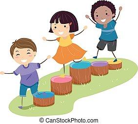 dzieciaki, stickman, przeszkoda, ilustracja, drewno blokuje