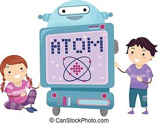 dzieciaki, stickman, robot, ilustracja, atom, nauczyciel