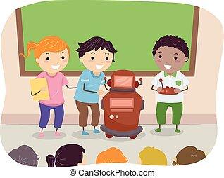 dzieciaki, stickman, robot, niniejszy