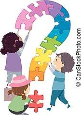 dzieciaki, stickman, zagadka, pytanie, ilustracja, marka