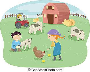 dzieciaki, stodoła