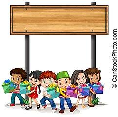dzieciaki, szablon, projektować, dzierżawa, chorągiew, niniejszy