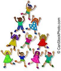 dzieciaki, teamwork, 3d