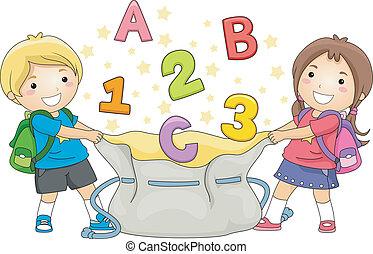 dzieciaki, uchwyt, abc, i, 123's