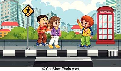 dzieciaki, uliczna scena